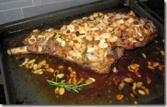 Lamb baked with honey, sauge and rosted almonds