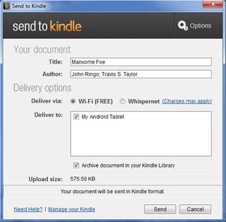 Send To Kindle Dialog