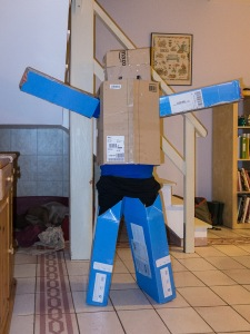 Timothy in his self made robot costume