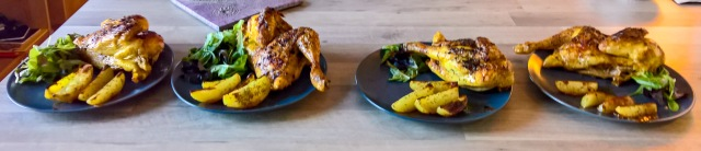 Grilled chicken with thyme, wedge potatoes and sallad