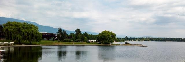 View towards Lac de Divonne outside Le Rectiligne.